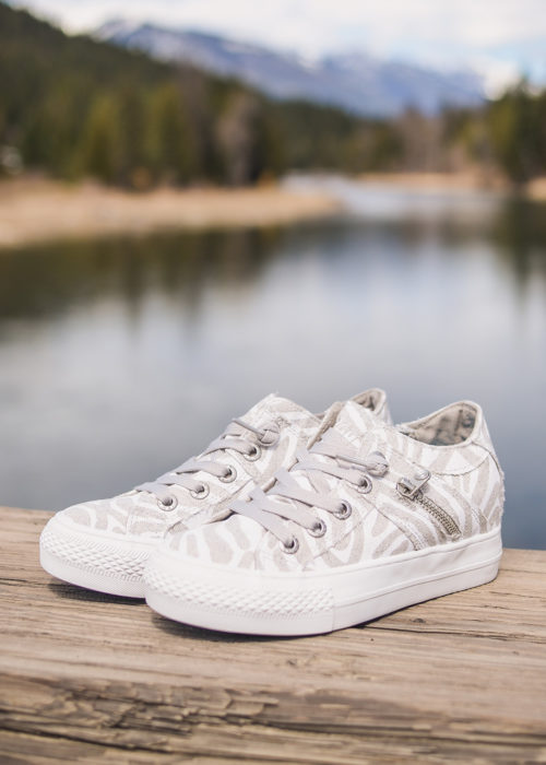 Blowfish Melondrop White Zebra Shoes by Nomads Hemp Wear. Stacked Vegan Shoes with a wedge. Wedge sneakers