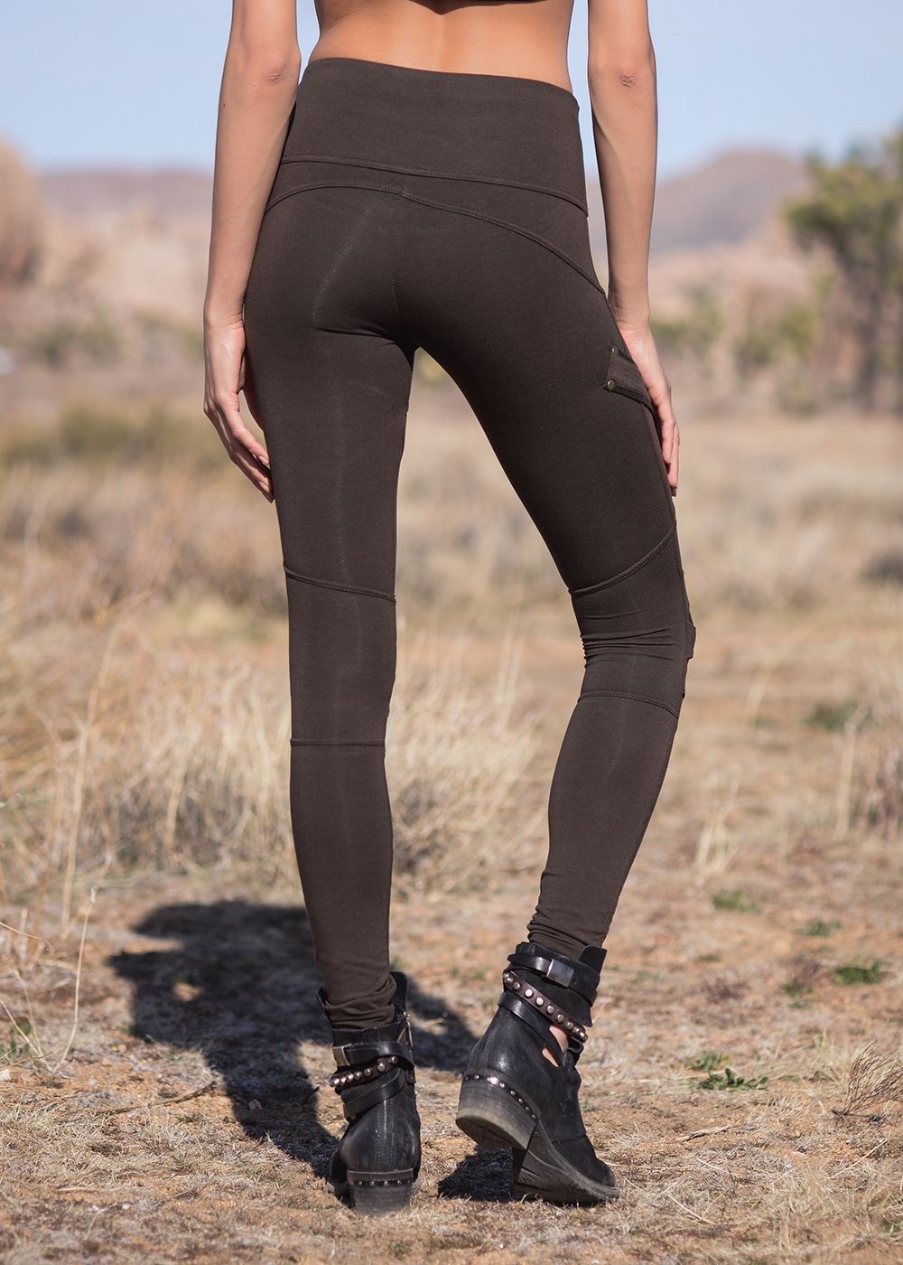 Bamboo and Organic Cotton Apocalypse Leggings in Brown by Nomads Hemp Wear Back