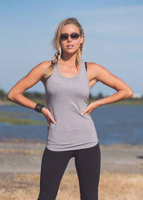 Model wearing Grey organic cotton and bamboo workout tank top by Nomads Hemp Wear.