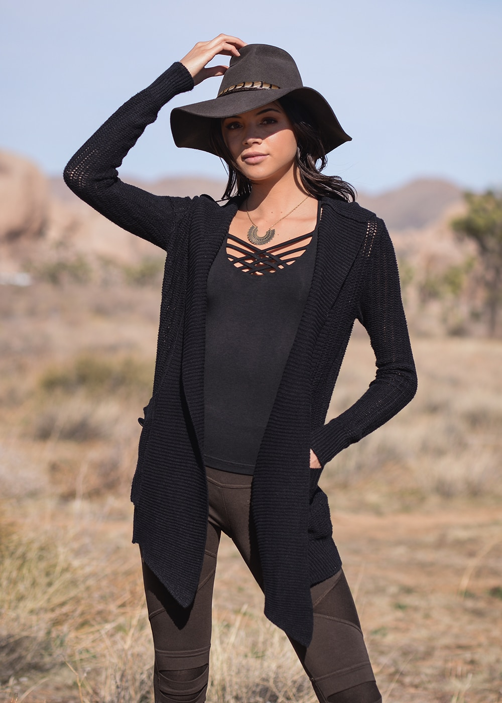 Hemp Knit Avalon Cardigan in Black by Nomads Hemp Wear