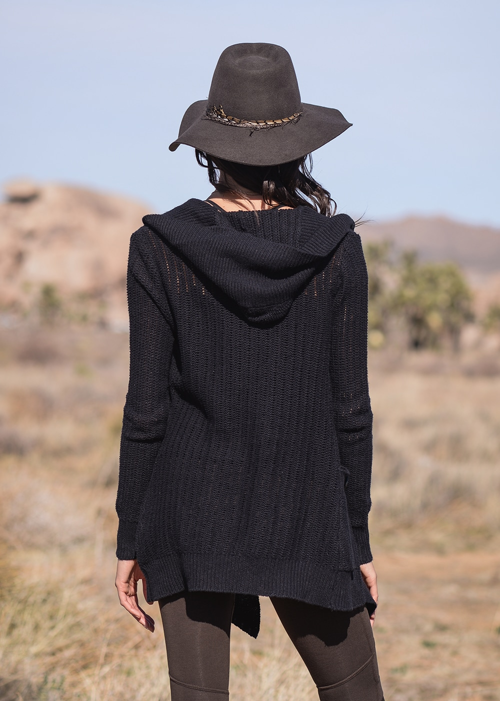 Hemp Knit Avalon Cardigan in Black by Nomads Hemp Wear Back