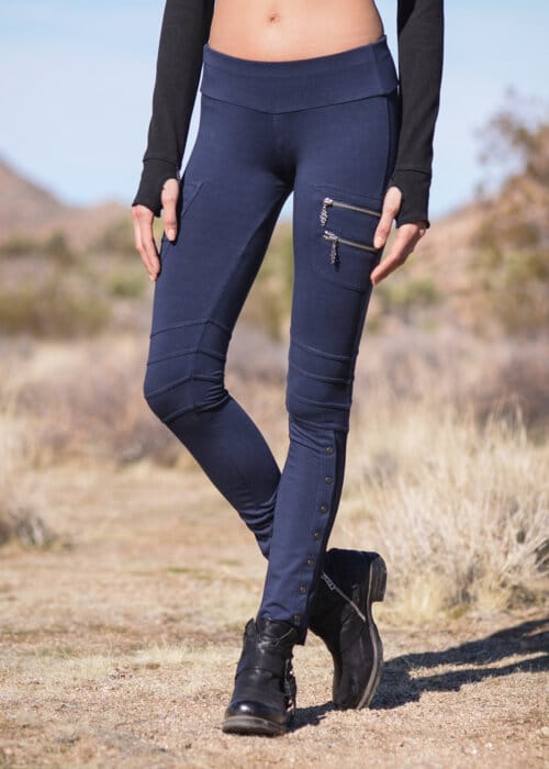 Bamboo and Organic Cotton Axiom Leggings in Blue by Nomads Hemp Wear