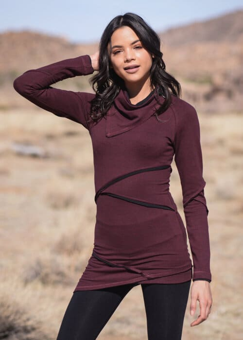 Hemp Terry Bandita Tunic in Red by Nomads Hemp Wear