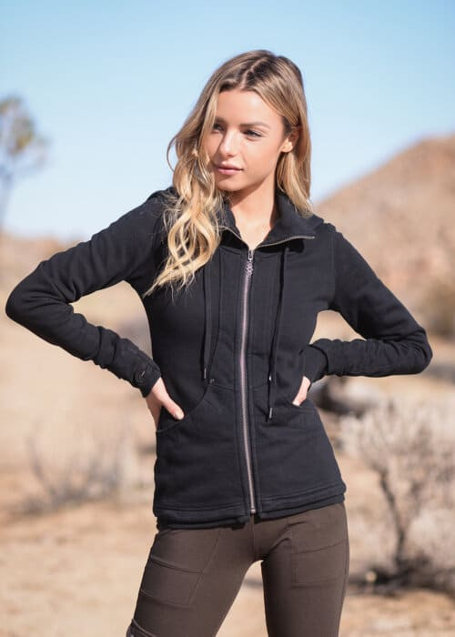 Bamboo and Organic Cotton Continuum Hoodie in Black by Nomads Hemp Wear