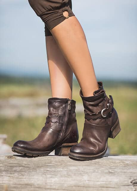 AS98 Corn Boots in brown leather with large silver buckle and wooden heel