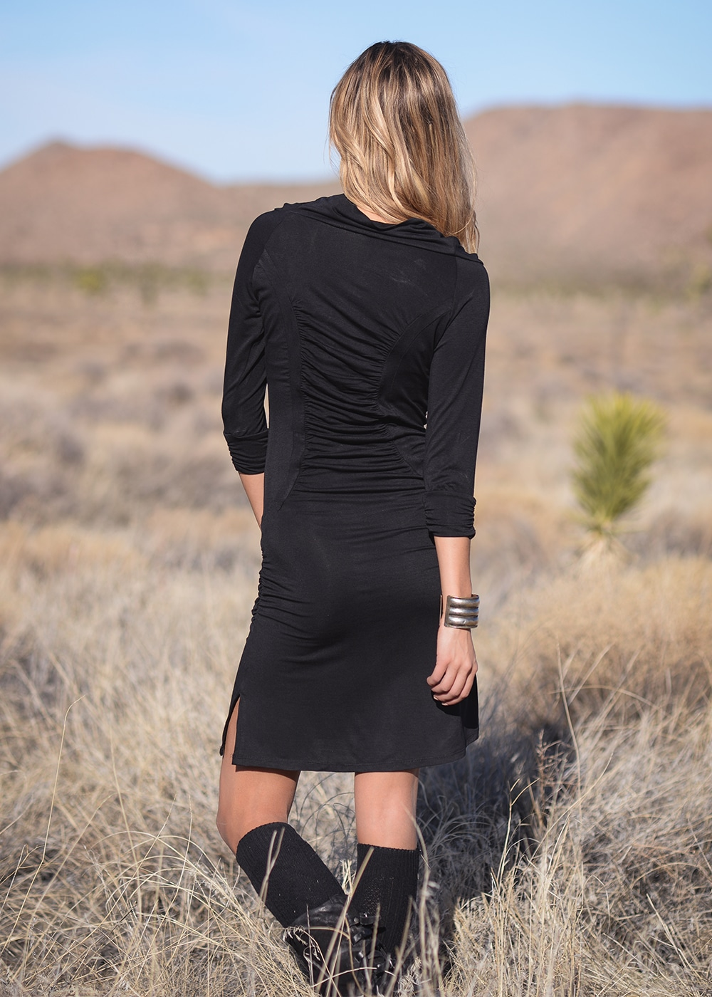 Hemp Darling Dress in Black by Nomads Hemp Wear Back