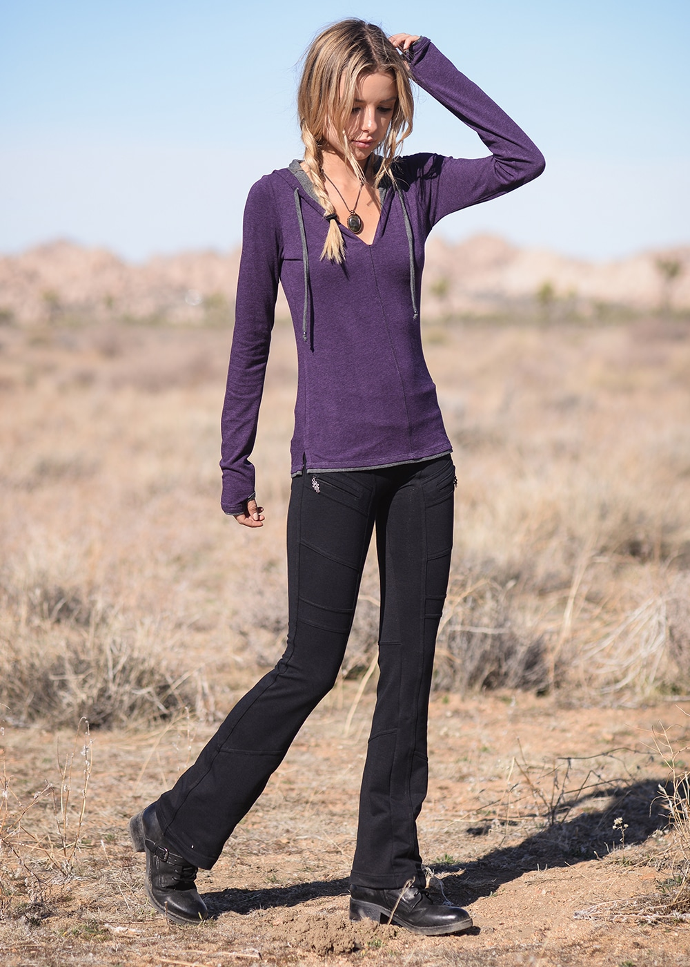 Bamboo and Organic Cotton Diversity Tee in Purple by Nomads Hemp Wear Full Body