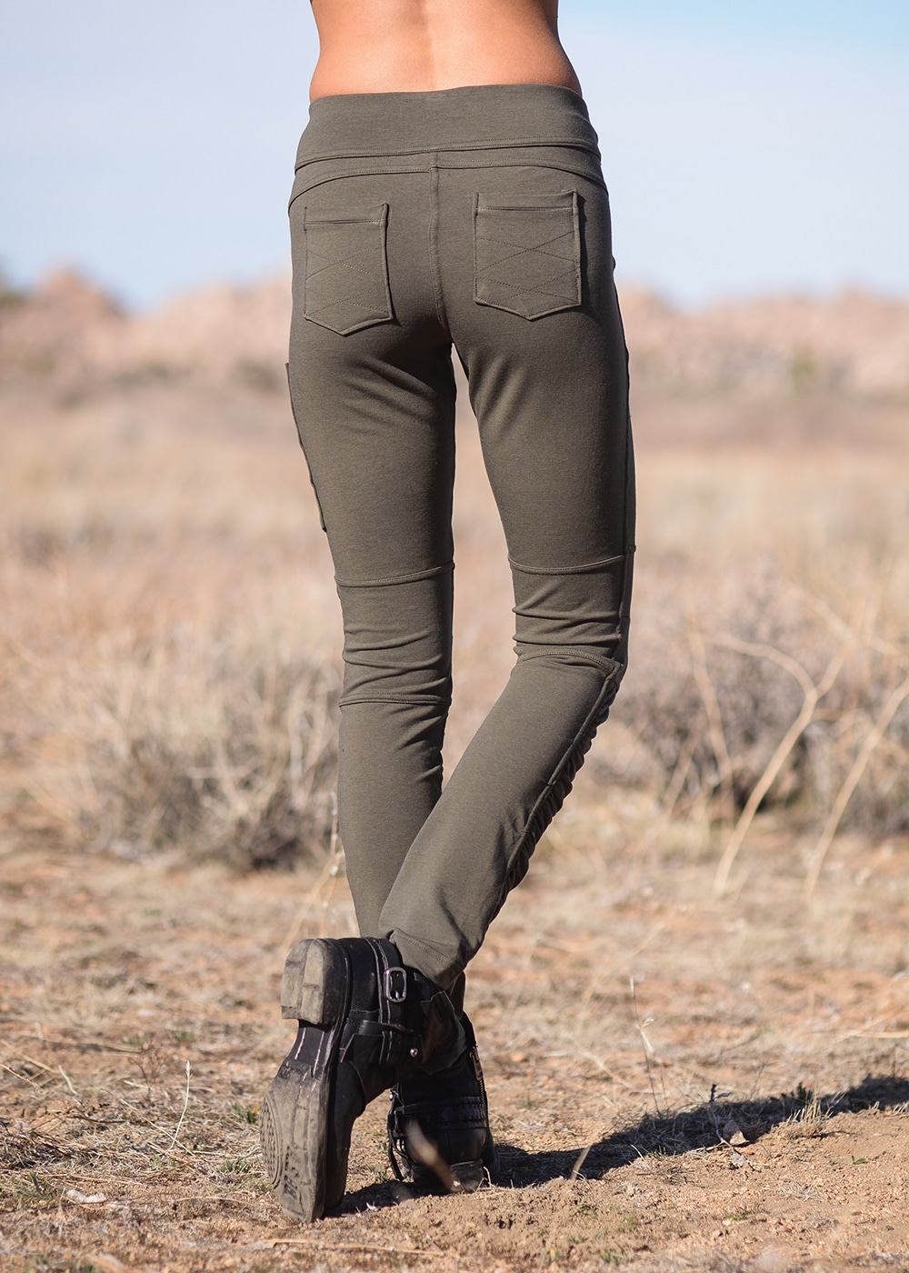 Bamboo and Organic Cotton Drifter Pants in Olive Green by Nomads Hemp Wear Back