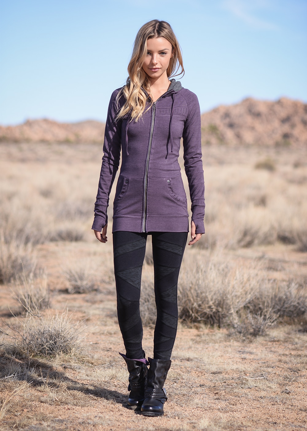 Bamboo and Organic Cotton Elevate Tunic in Purple by Nomads Hemp Wear Full Body