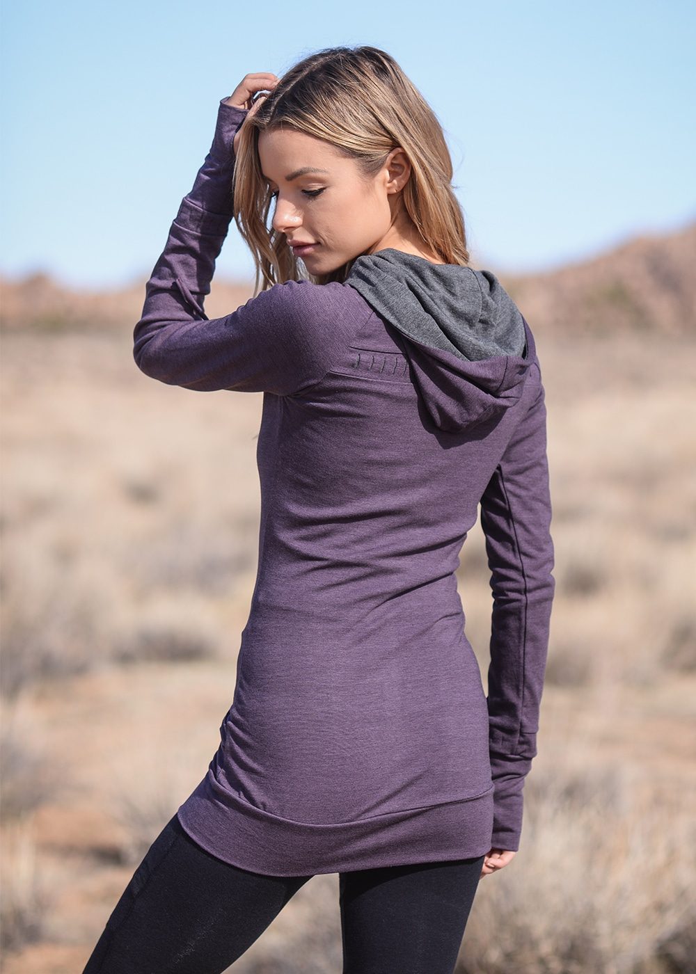 Bamboo and Organic Cotton Elevate Tunic in Purple by Nomads Hemp Wear Back