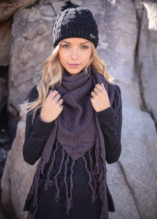 Hemp Knit Embrace Scarf in Mauve by Nomads Hemp Wear