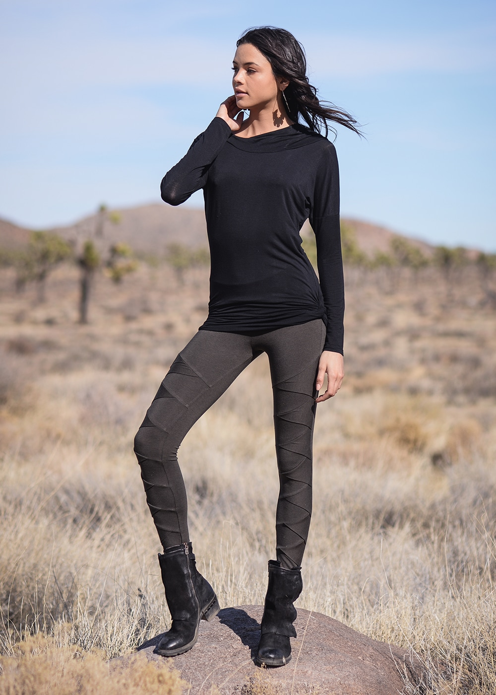 Bamboo and Organic Cotton Albacore Leggings in Grey by Nomads Hemp Wear Full Body