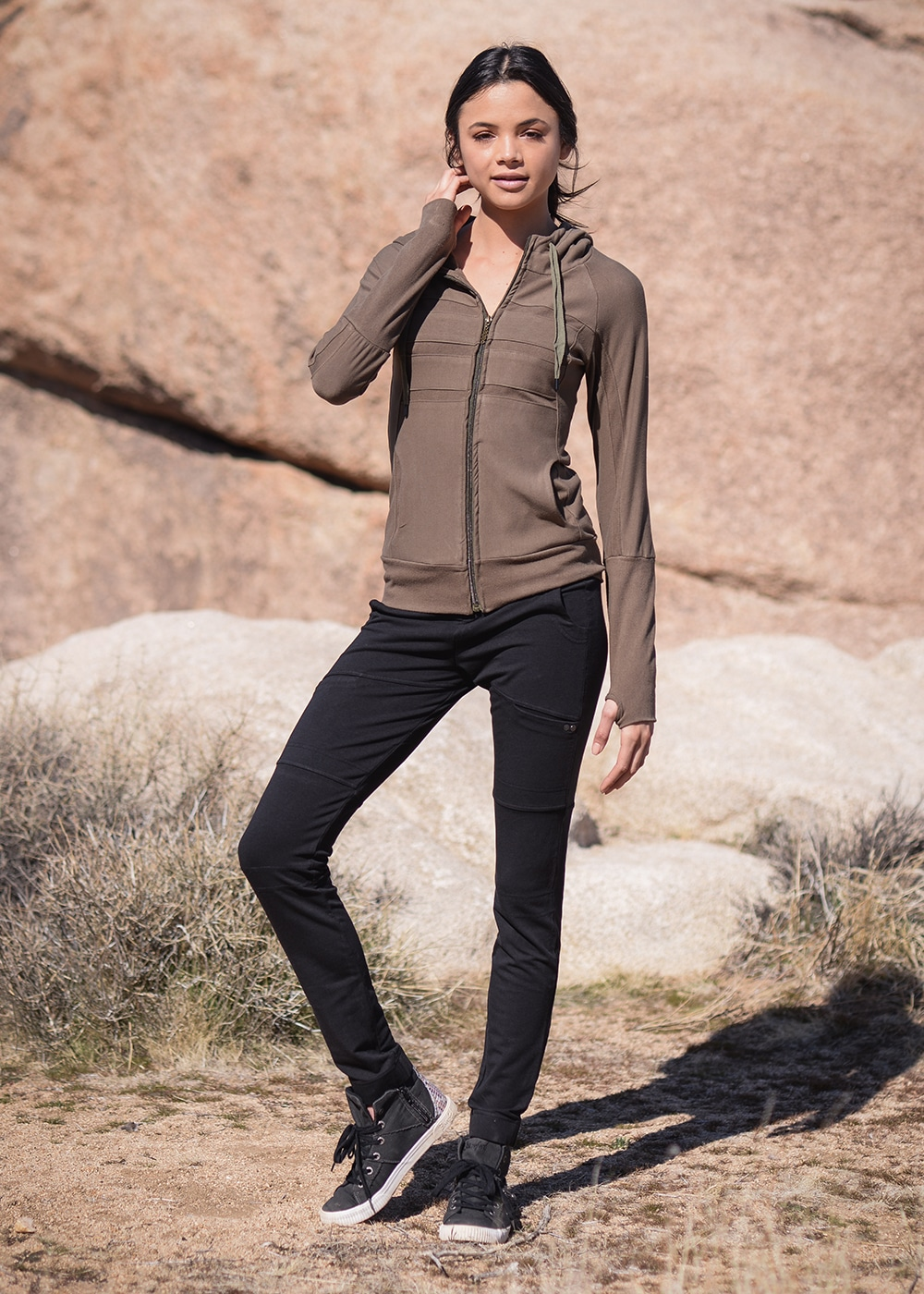 Bamboo and Organic Cotton Frequency Hoodie in Olive Green by Nomads Hemp Wear Full Body
