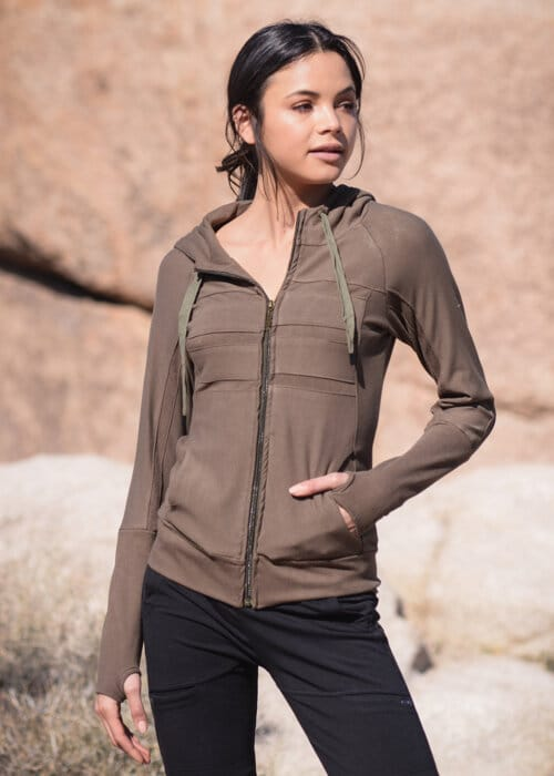 Bamboo and Organic Cotton Frequency Hoodie in Olive Green by Nomads Hemp Wear