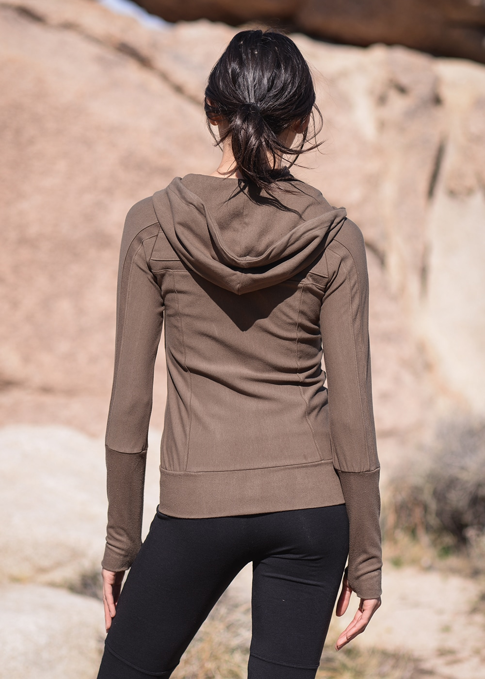 Bamboo and Organic Cotton Frequency Hoodie in Olive Green by Nomads Hemp Wear Back
