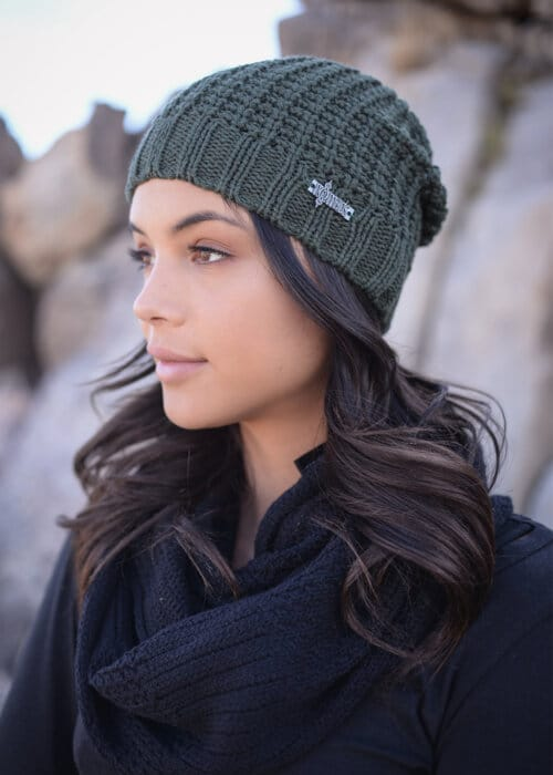 Hemp Knit Jasper Beanie in Green by Nomads Hemp Wear Side View