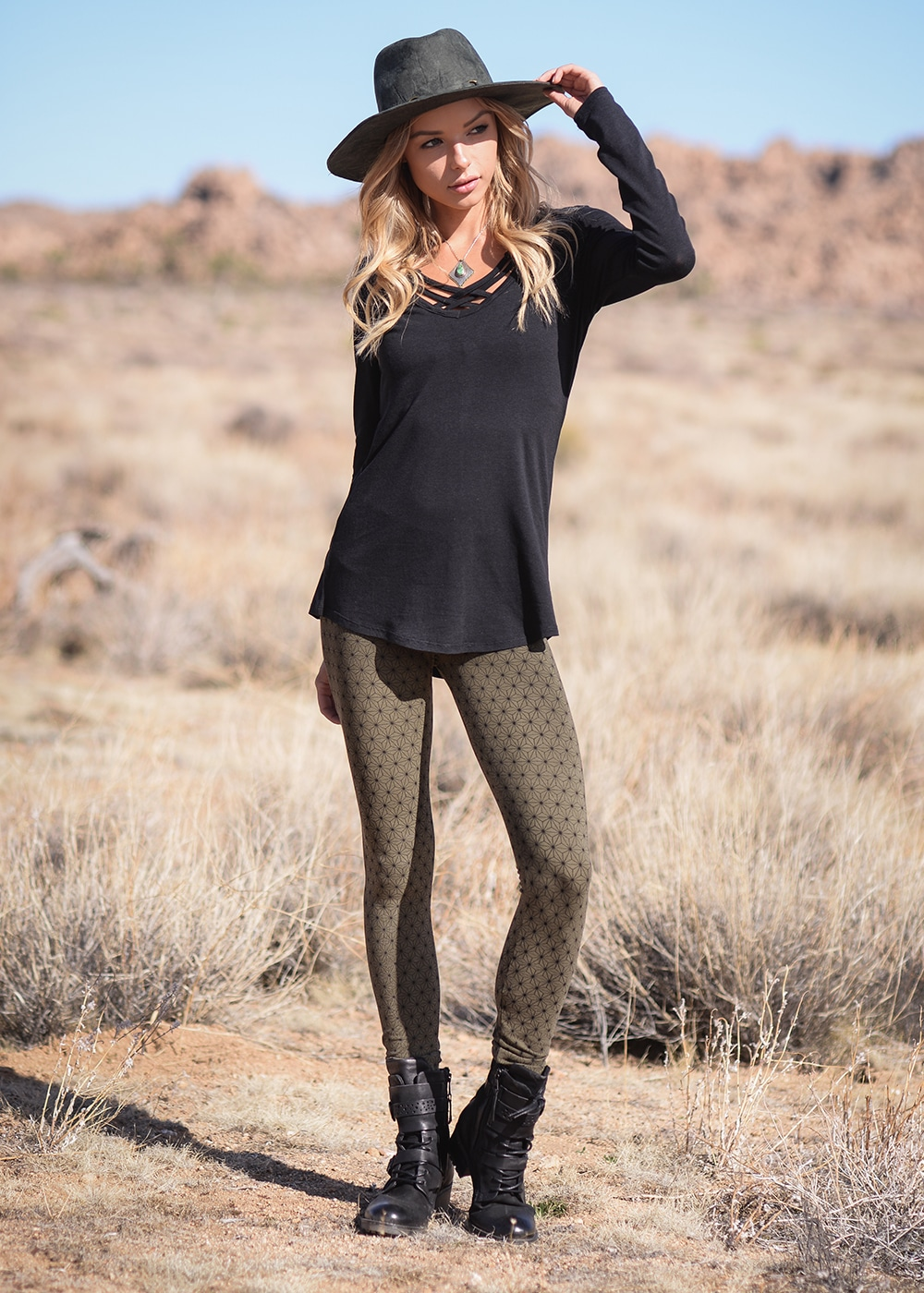 Bamboo and Organic Cotton Spectrum Leggings in Olive Green Asanoha by Nomads Hemp Wear Full Body
