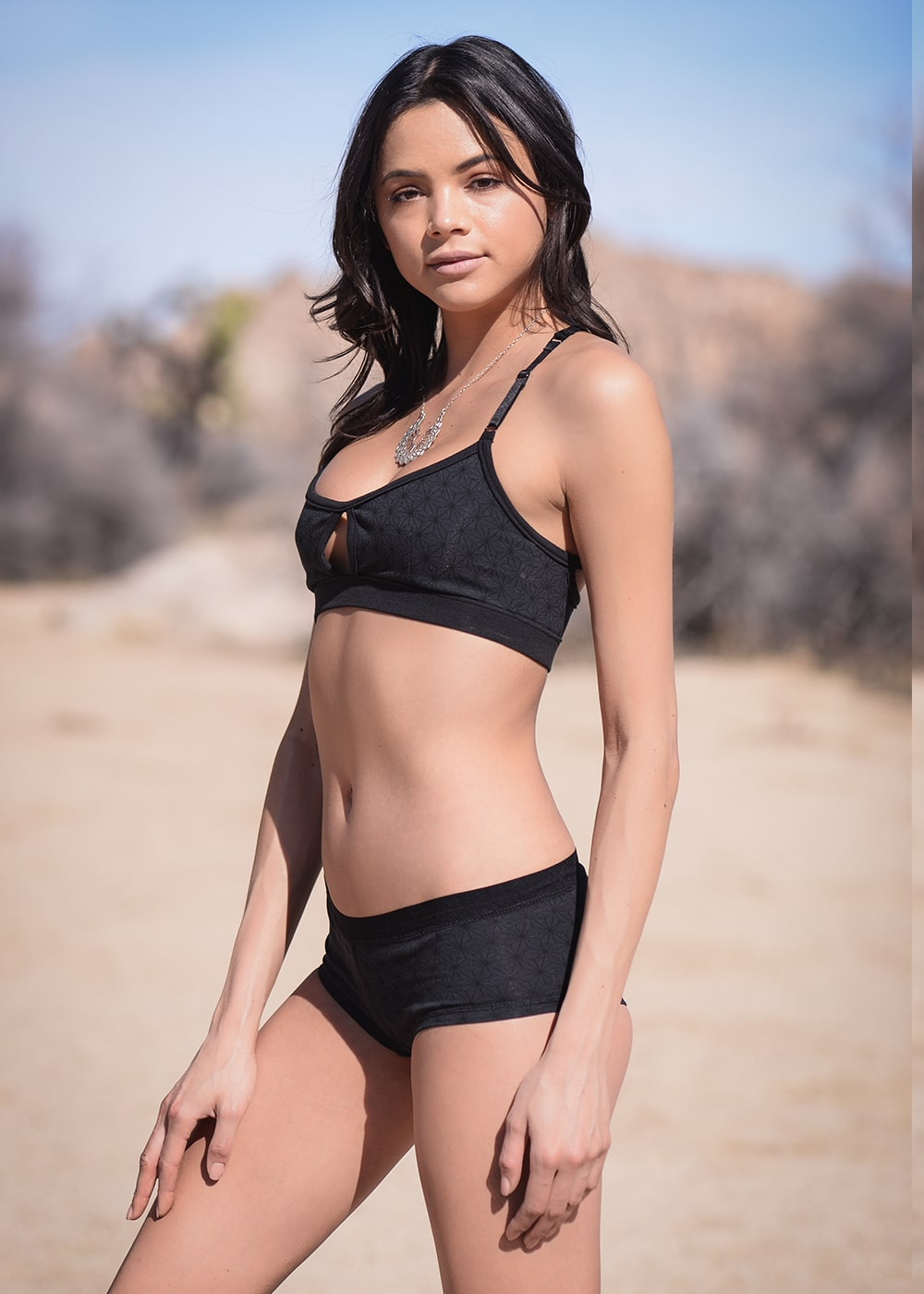 Bamboo and Organic Cotton Minx Bra in Black by Nomads Hemp Wear Side View