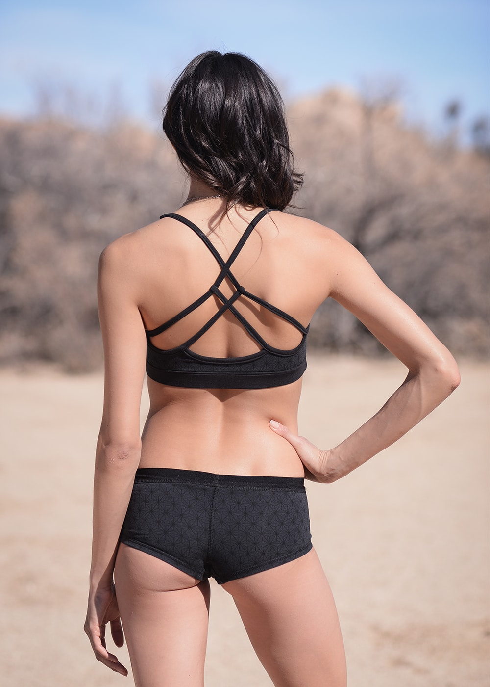 Bamboo and Organic Cotton Minx Bra in Black by Nomads Hemp Wear Back