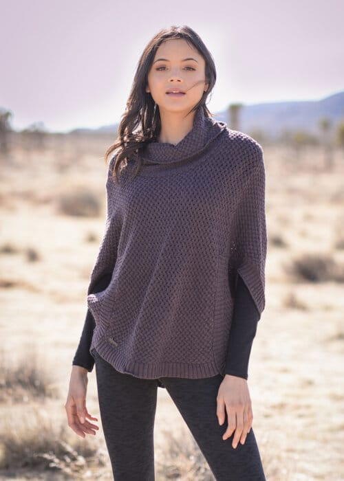 Hemp Knit Moonlight Poncho in Mauve by Nomads Hemp Wear