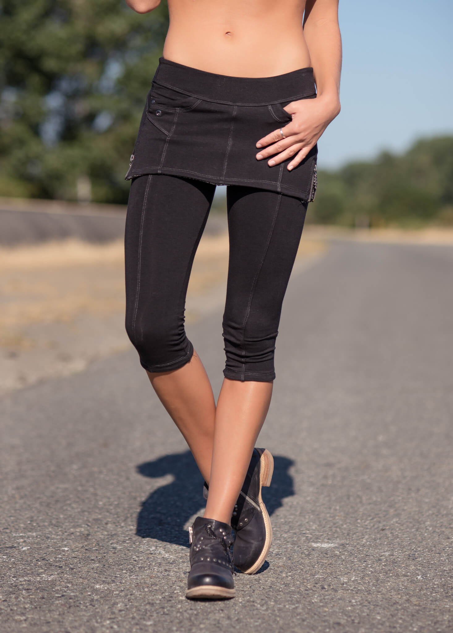 Organic cotton and bamboo 3/4 leggings with an attached skirt on a model, low rise by Nomads Hemp Wear