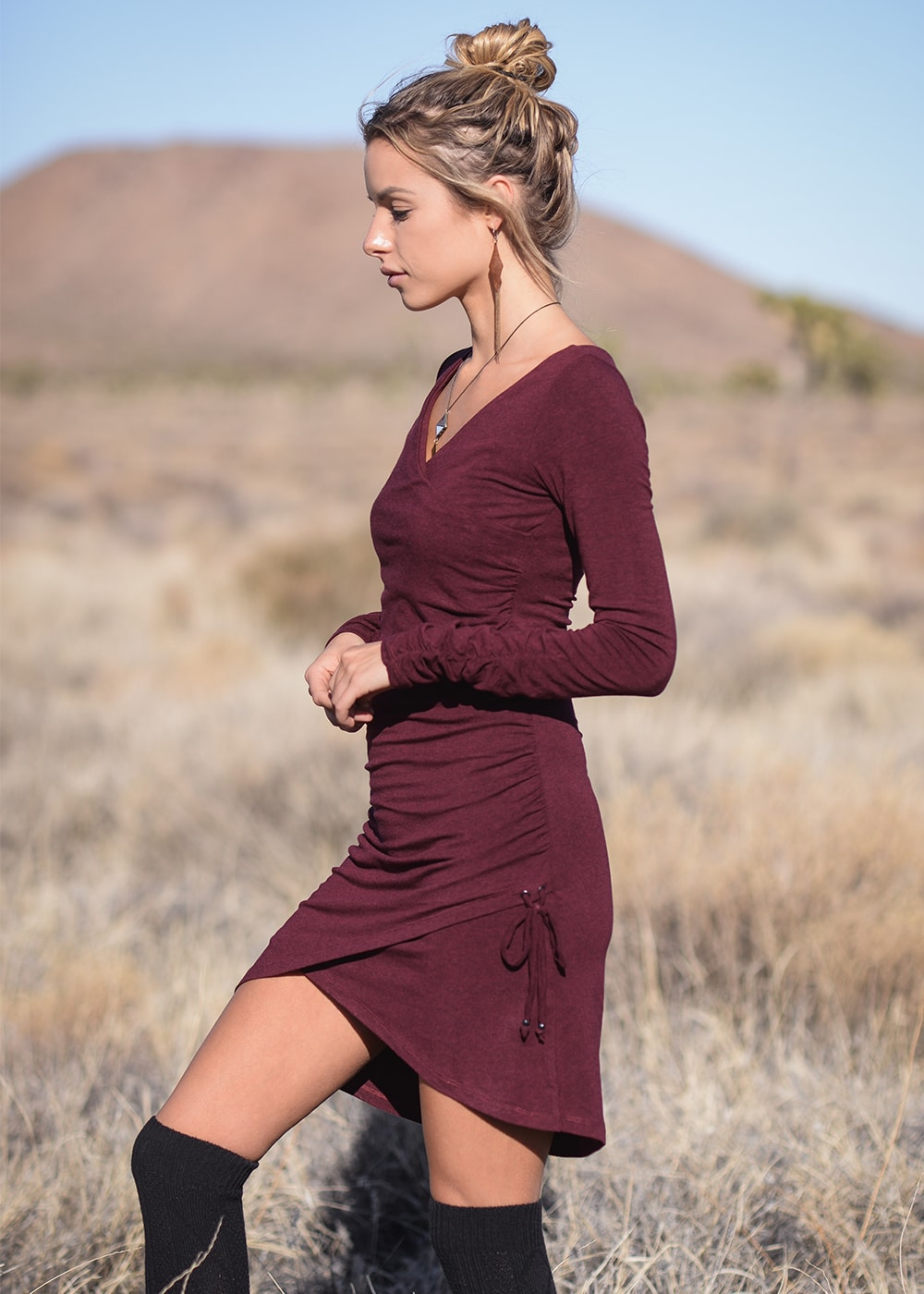 Bamboo and Organic Cotton Nostalgia Dress in Red by Nomads Hemp Wear Side View