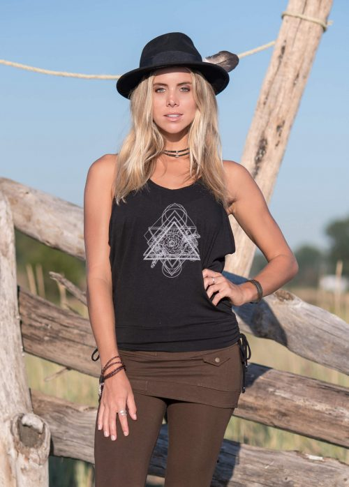 Model wearing Nomads Hemp Wear organic cotton and bamboo bodice tank top with geo pattern.
