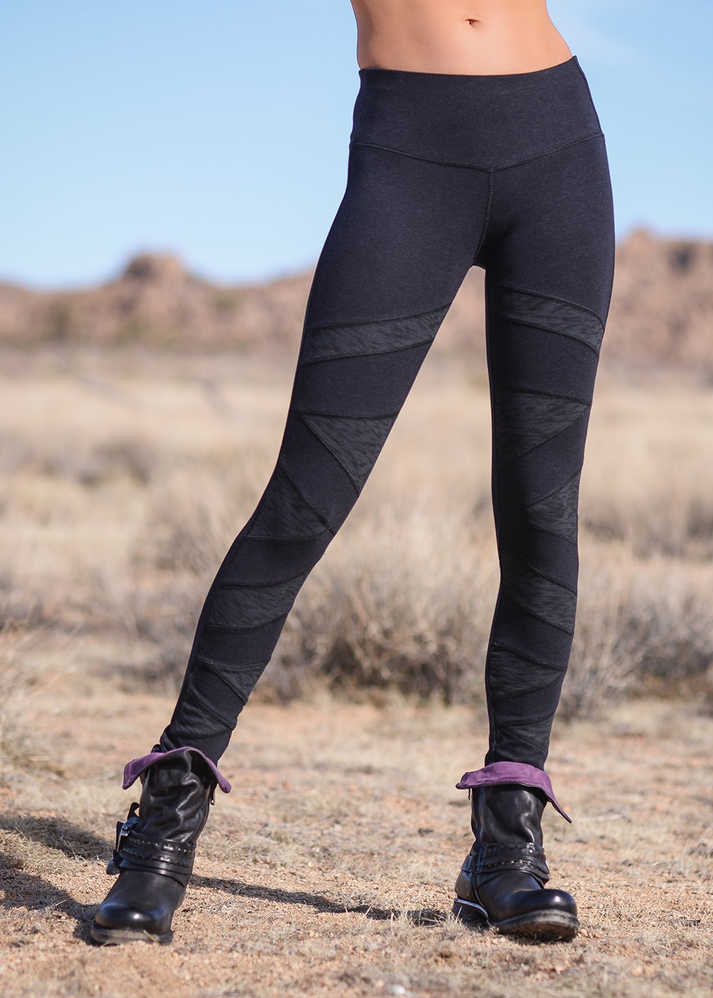 Bamboo and Organic Cotton Polygon Leggings in Black by Nomads Hemp Wear