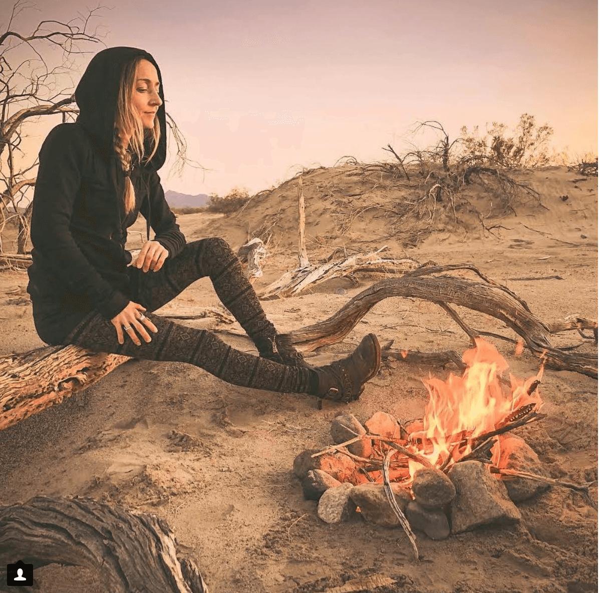 Anik in Nomads Hemp Wear leggings and hoodie