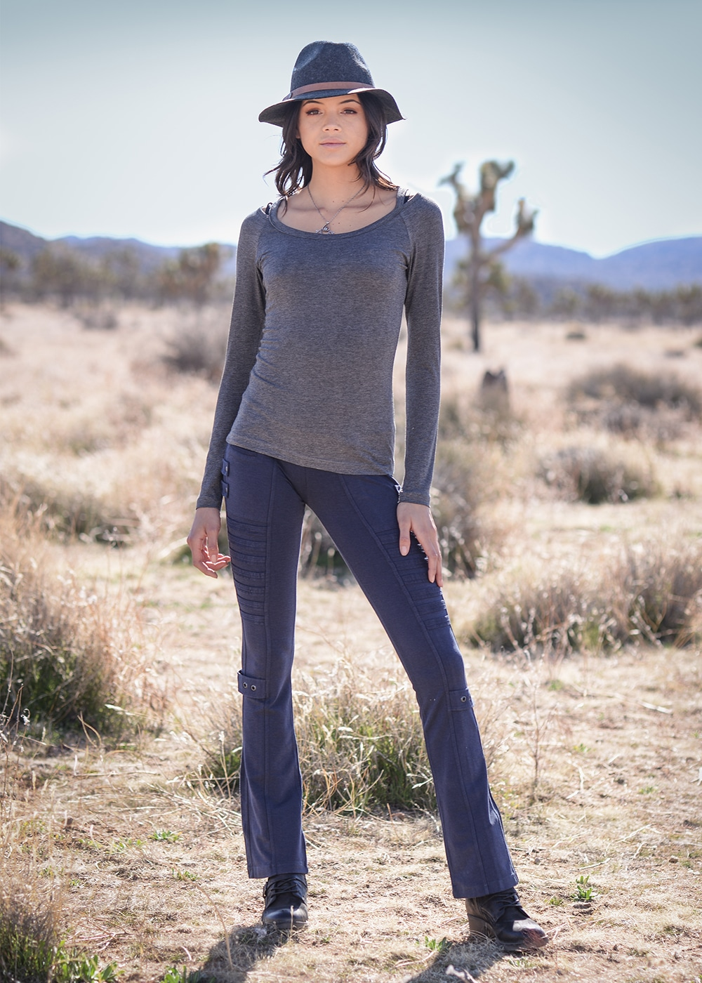 Bamboo and Organic Cotton Simplicity Tee in Grey by Nomads Hemp Wear Full Body