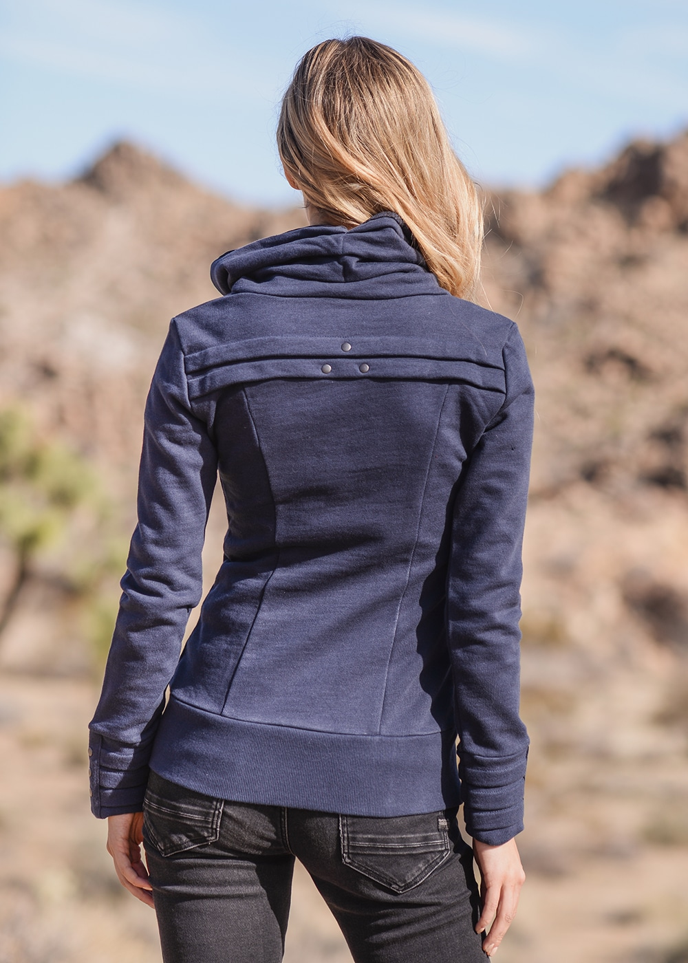 Bamboo and Organic Cotton Skyline Jacket in Blue by Nomads Hemp Wear Back