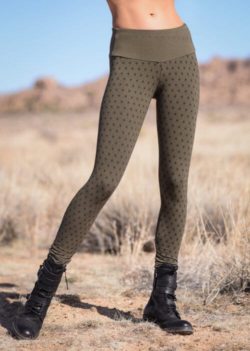 Bamboo and Organic Cotton Spectrum Leggings in Olive Green Asanoha by Nomads Hemp Wear