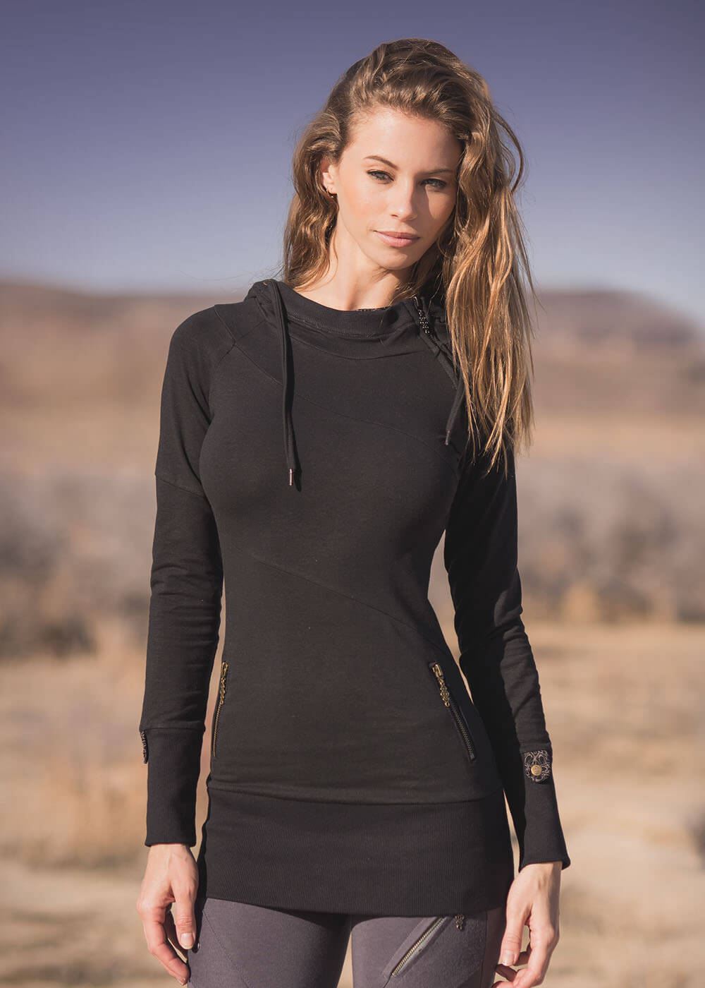 Black Surrender Hoodie in Organic Cotton & Hemp by Nomads Hemp Wear