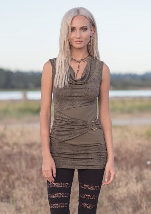 Model wearing organic cotton and bamboo bodycon tunic with cowl neck and grunge print by Nomads Hemp Wear.