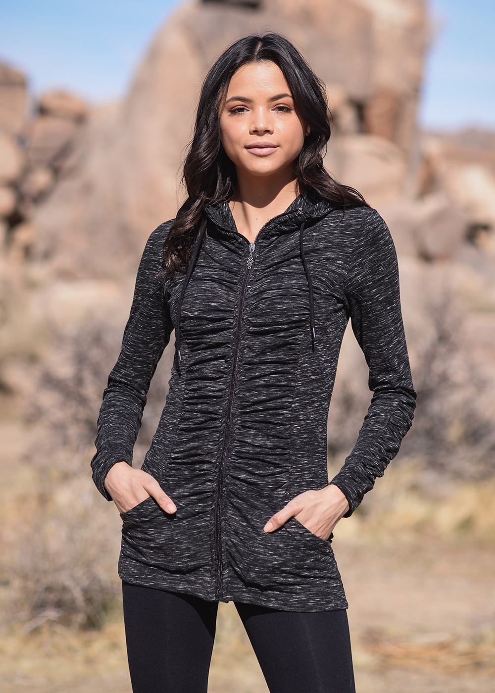 Bamboo and Organic Cotton Thrive Tunic in Black Fleck by Nomads Hemp Wear