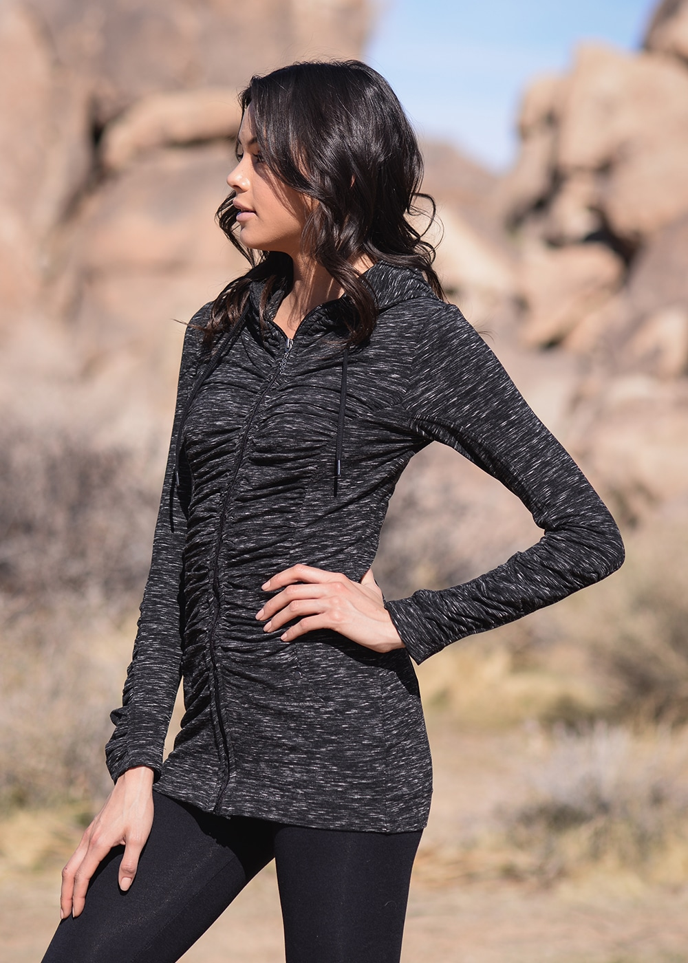 Bamboo and Organic Cotton Thrive Tunic in Black Fleck by Nomads Hemp Wear Side View