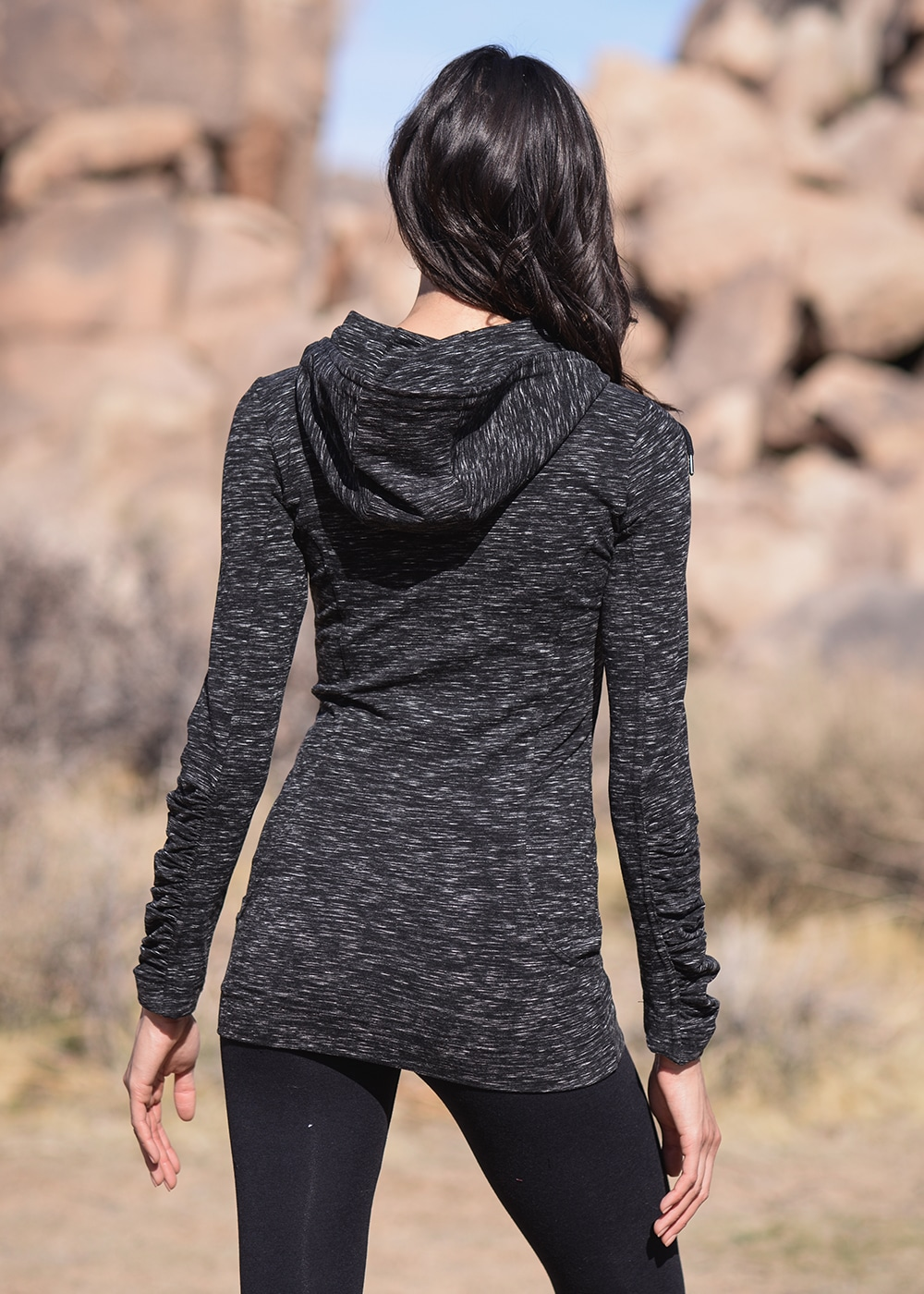 Bamboo and Organic Cotton Thrive Tunic in Black Fleck by Nomads Hemp Wear Back