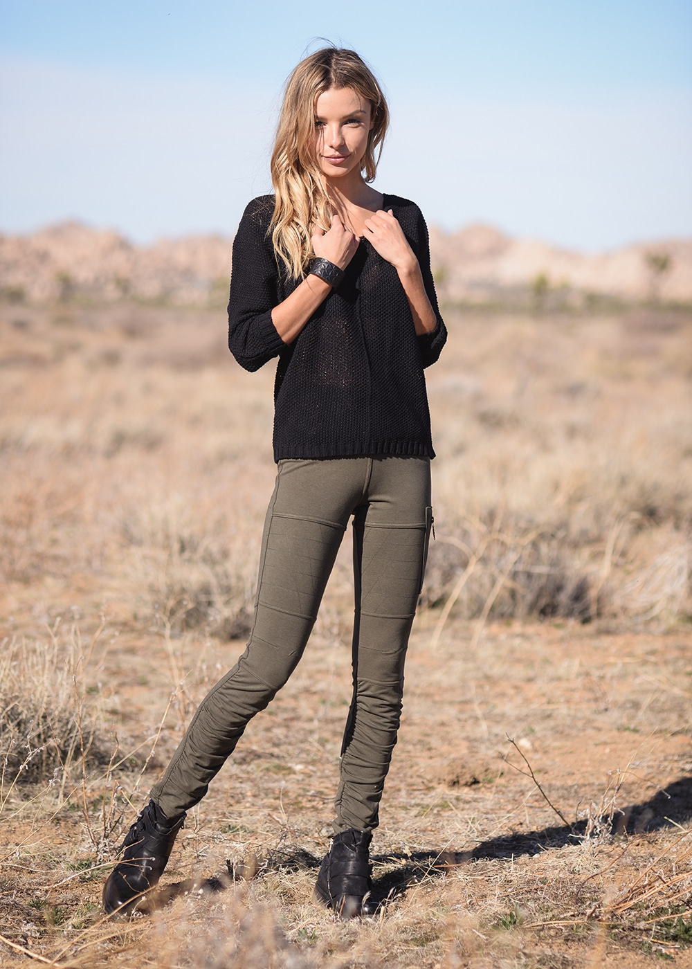 Bamboo and Organic Cotton Drifter Pants in Olive Green by Nomads Hemp Wear Full Body
