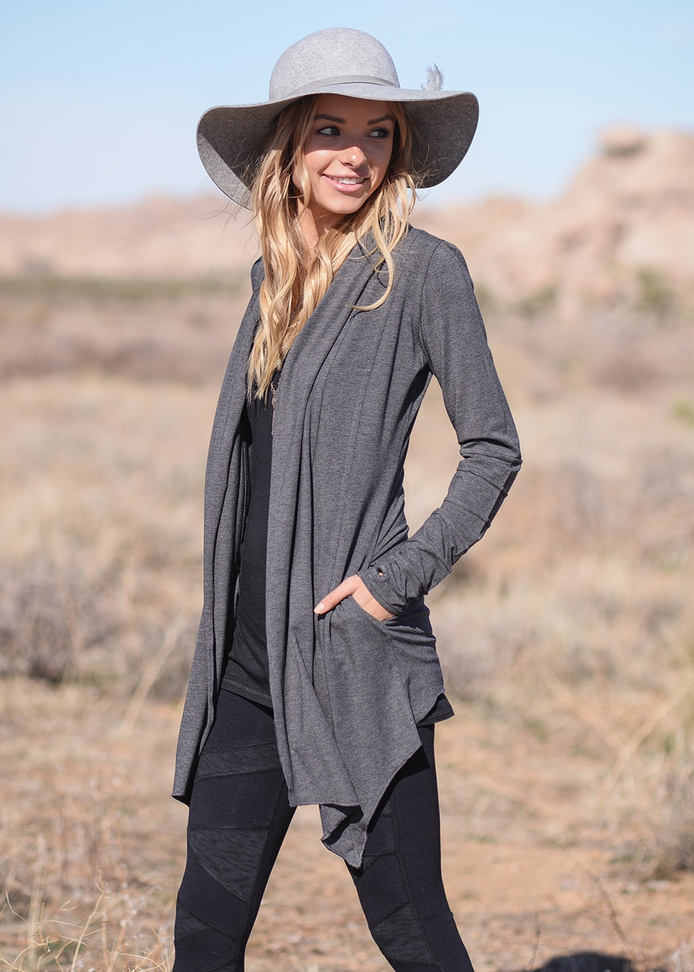 Bamboo and Organic Cotton Twilight Cardigan in Grey by Nomads Hemp Wear Side View