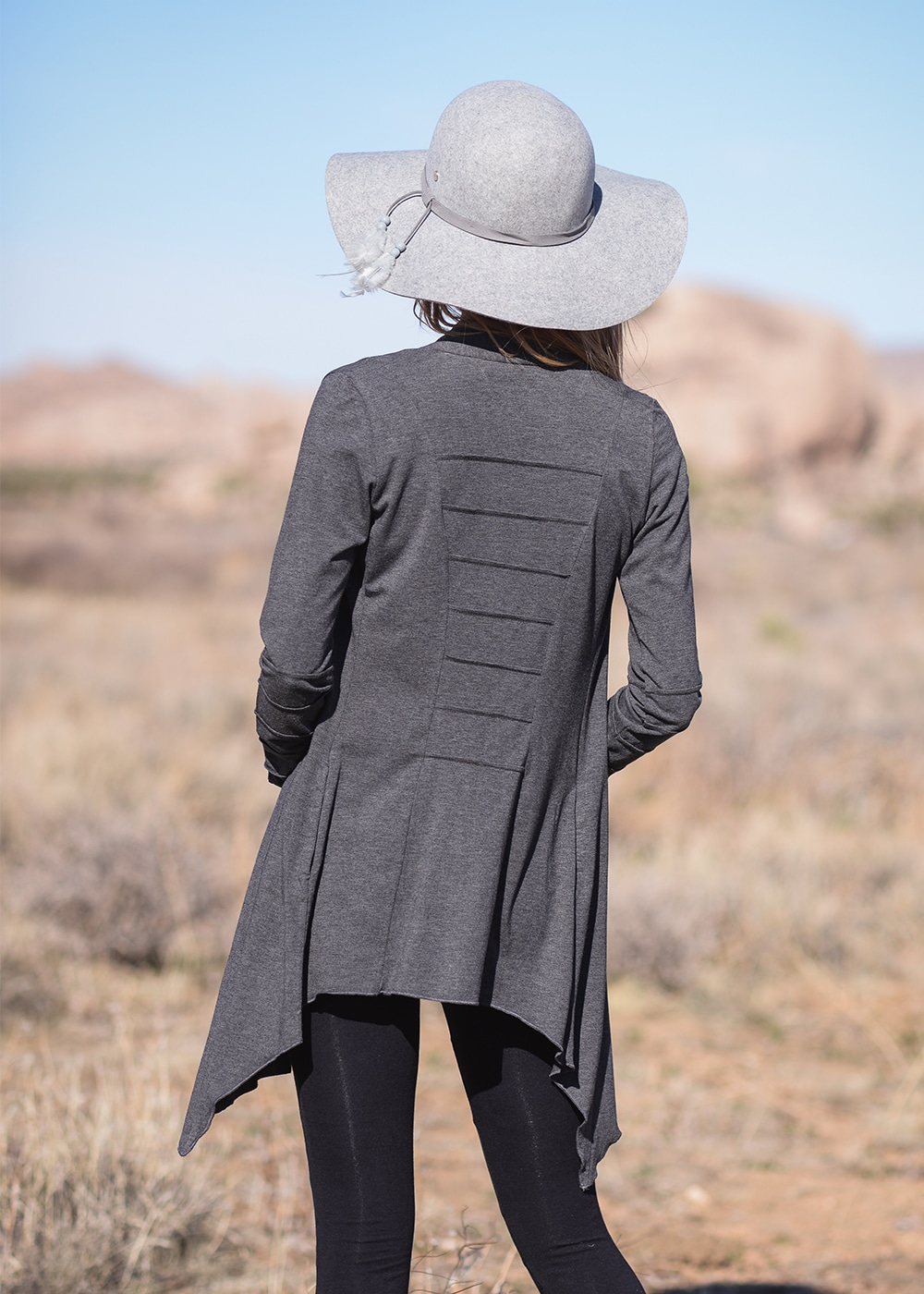 Bamboo and Organic Cotton Twilight Cardigan in Grey by Nomads Hemp Wear Back