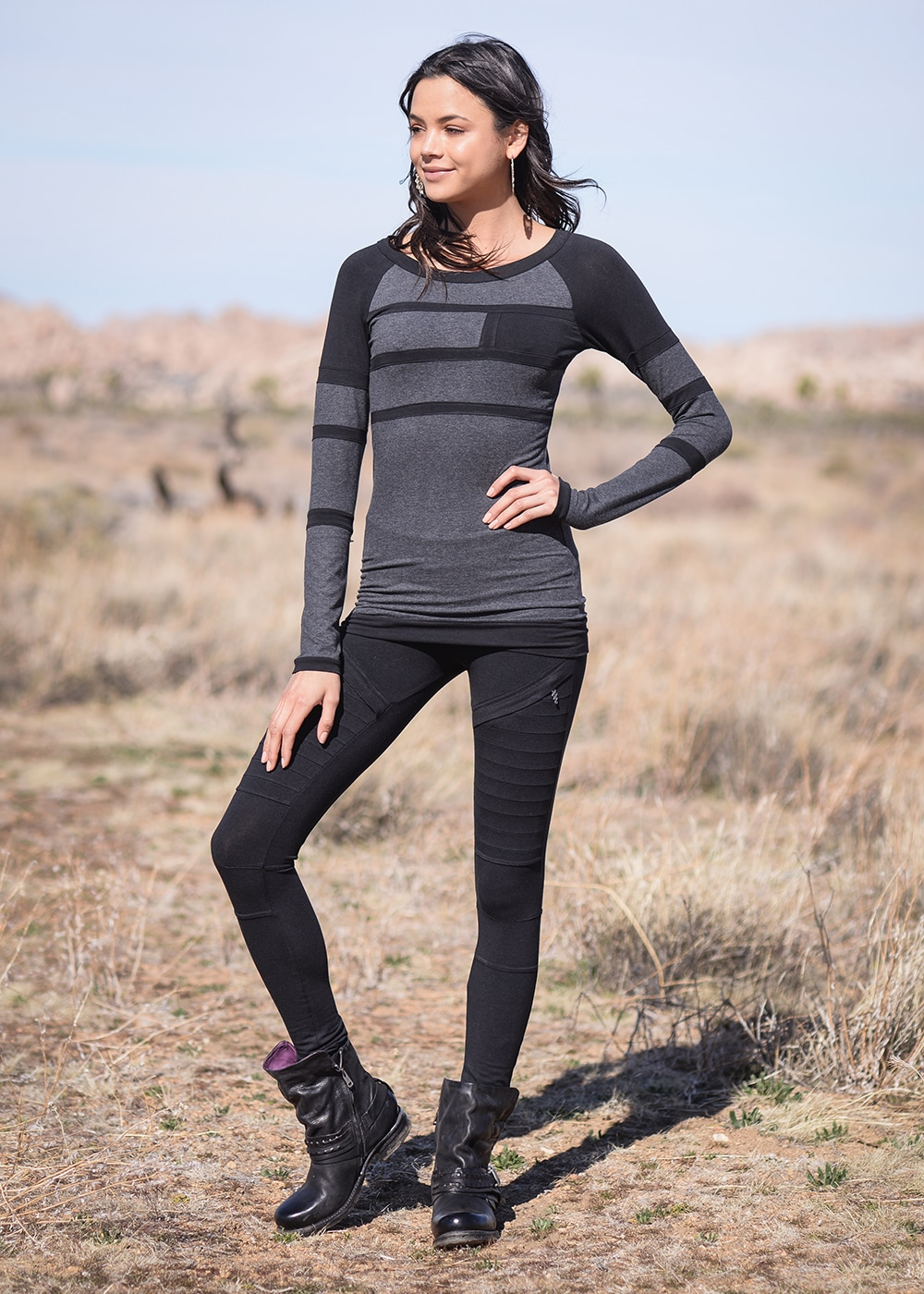 Bamboo and Organic Cotton Recluse Leggings in Black by Nomads Hemp Wear Full Body