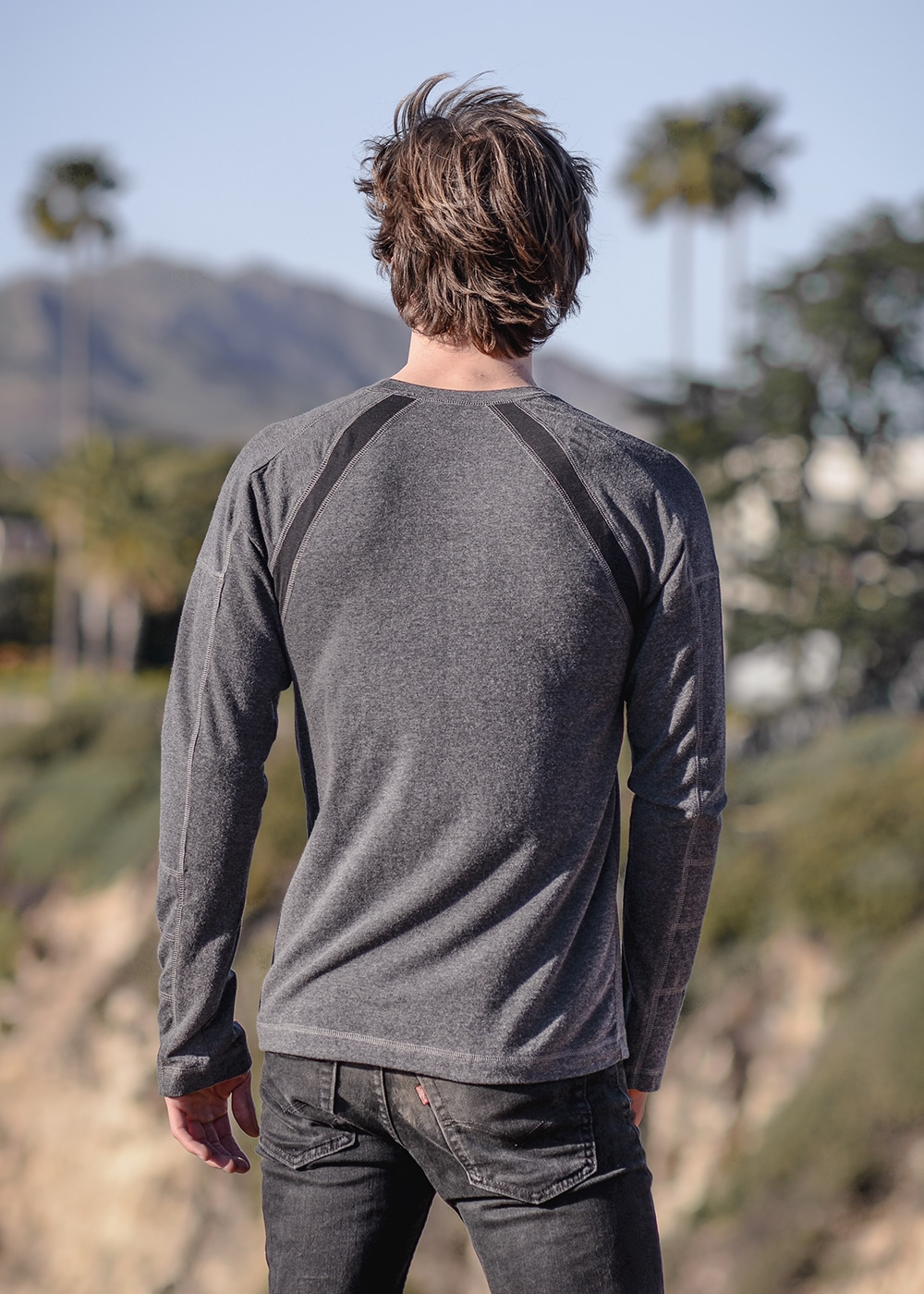Men's Bamboo and Organic Cotton Warrior Tee in Grey by Nomads Hemp Wear Back