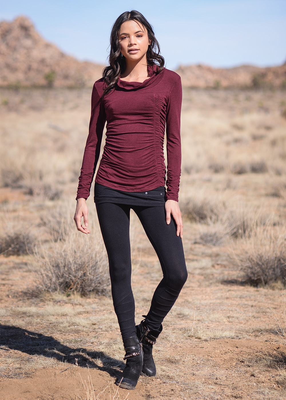 Bamboo and Organic Cotton Willow Tee in Red by Nomads Hemp Wear Full Body