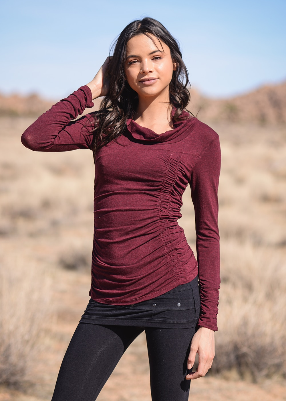 Bamboo and Organic Cotton Willow Tee in Red by Nomads Hemp Wear