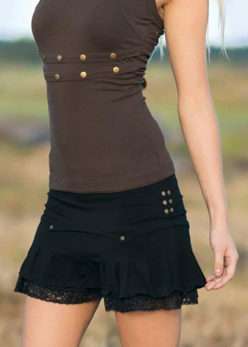 absinth bamboo mini skirt in black with lace and pleats and rivets