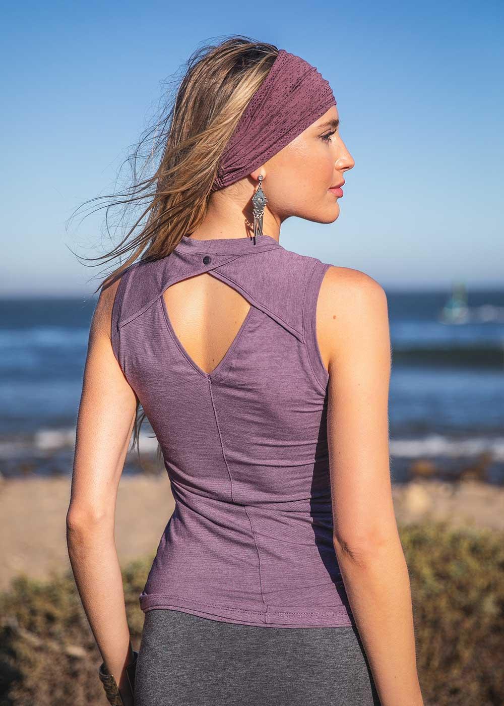 Arya Tank Top in Purple Back by Nomads Hemp Wear
