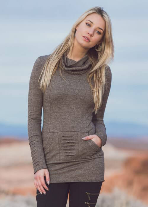 Ashram Sweater in hemp and organic cotton in brown fleck by Nomads Hemp Wear