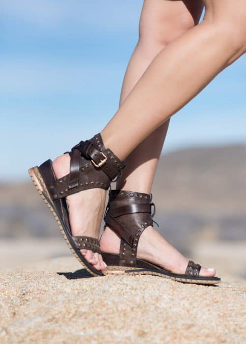 AS98 Athena Sandals in dark brown leather