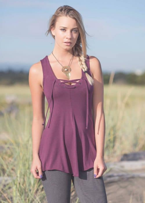 Blond model in a purple Aztec Tunic in Organic Cotton & Bamboo