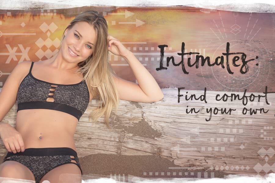 Organic cotton toxic free bra and underwear on smiling model by Nomads Hemp Wear